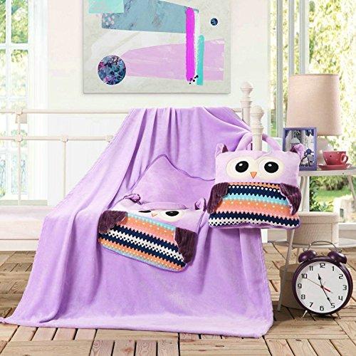 110x160 cm Kuscheldcke Babydecke für Kinder Microfaser Mikrofaser Fleecedecke mit der Tasche schöne süße Motive weich kuschelig Cuties lila violett violet owls Eule