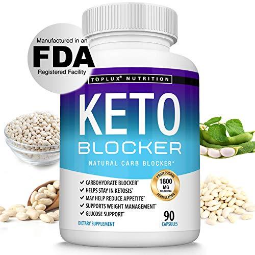 Keto Blocker Pills White Kidney Bean Extract - 1800 mg Natural Ketosis, Support Keto Diet, for Men Women, 90 Capsules, Toplux Supplement