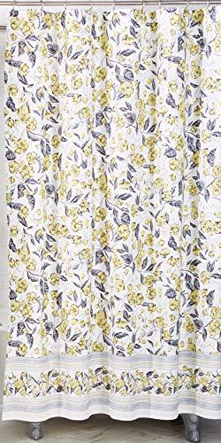 Vera Bradley Duschvorhang mit Kolibri-Blüten, 100 % Baumwolle, 182,9 cm B x 182,9 cm L, Weiß Schnee/Gelb