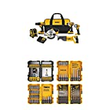 DEWALT 20V MAX Combo Kit, Compact 6-Tool (DCK620D2) with DEWALT DWA2FTS100 Screwdriving and Drilling Set, 100 Piece
