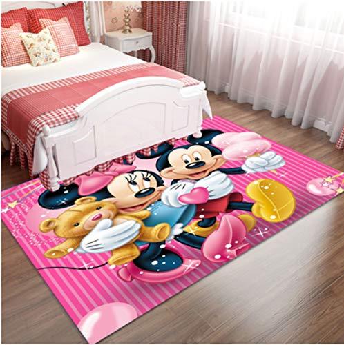 zzqiao Alfombra Rectangular Anime Cartoon Lovely Happy Mickey Mouse Girl Alfombra para Habitación De Niños Alfombra Antideslizante Sala De Estar Dormitorio Mesita De Noche Cocina Baño 140 * 200Cm