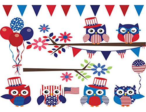 DIY 5D Diamond Painting Kits Blue America 4Th July Owl Branch Red Full Drill Painting Arts Craft...