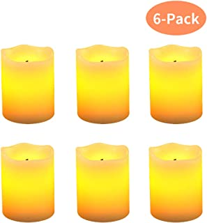 """LED Flameless Candles Gift Sets 6 Pack, 2"""" X 2.5"""" Ivory Real Wax Pillar Flickering Candle Battery Operated with Optical Fiber Wick (Including Battery)"""
