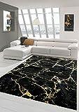 Teppich-Traum Alfombra salón Alfombra mármol Aspecto Oro Negro Größe 240 x 340 cm
