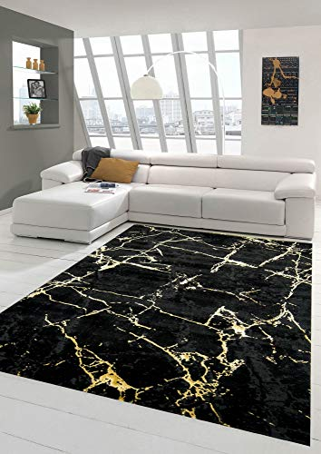 Teppich-Traum Alfombra salón Alfombra mármol Aspecto Oro Negro Größe 120x170 cm