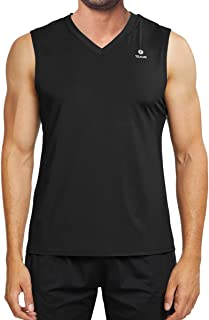 TELALEO Men's Performance Sleeveless Workout Tank Tops,  Gym Muscle Bodybuilding Tank Vest Shirts