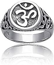Spiritual Religious Yogi Symbol Sanskrit Aum Ohm Om Signet Ring For Women For Men Oxidized 925 Sterling Silver
