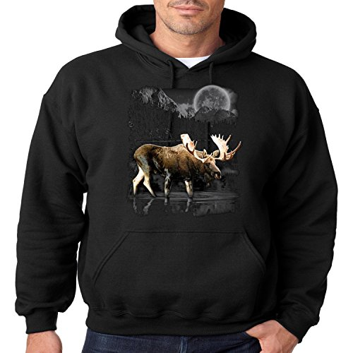 Juiceclouds Wild Life Hoodie Moon Light Moose Wilderness Mens Hooded Sweatshirt S-3XL (Black, 3XL)