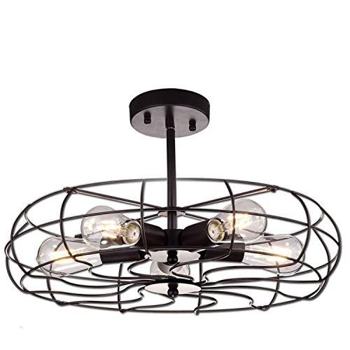 YOBO Lighting Industrial Bronze Fan Ceiling Light 5-Light Farmhouse Hall Flush Mount Ceiling Light Fixture