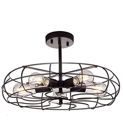 YOBO Lighting Oil Rubbed Bronze Vintage Barn Metal Ceiling Chandelier, 5 Light Close to Ceiling Semi Flush Mount Light