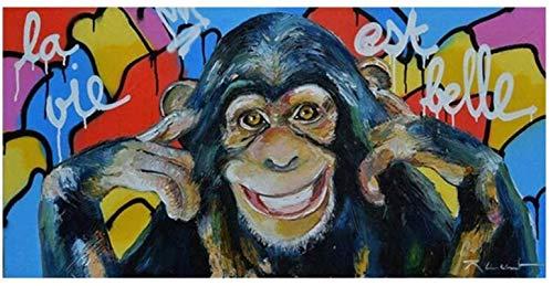 Cuadros de arte de pared lienzo Graffiti Art Painting Smile Monkey Posters e impresiones Imagen de animal abstracta Decoración del hogar 70x140cm sin marco