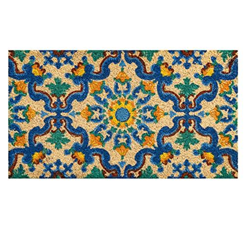 Zerbino in Cocco con Base in PVC Dipinto a Mano Maioliche Blu 70x40x3 cm