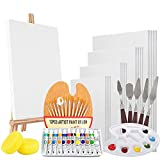 Complete Acrylic Paint Kit, 50 Piece Professional Artist Painting Supplies Set, Canvases for Painting, 12 Acrylic Paint Tubes, Paintbrushes, Mini Easel, and More for Adults, Kids and Beginners