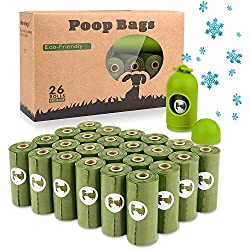🐶 【Dog Waste Disposal Poop Bags with dispenser and leash clip】 Includes 390 Scented poop bags total (26 rolls with 15 green bags per roll) ♻️ 【Eearth Friendly Biodegradable bags】 Built Strong and extra thick, Eco Friendly for Environment,Leak proof.Y...