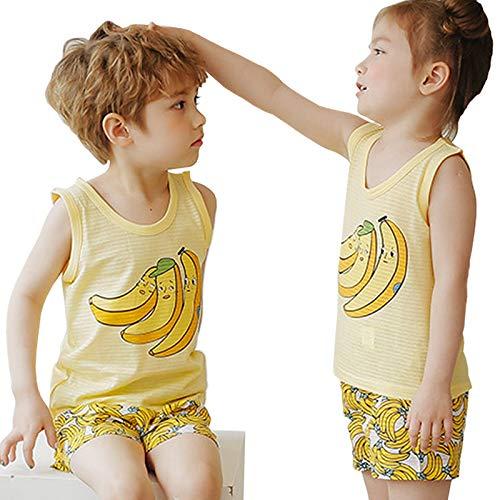 オーガニック コットン タンクトップ バナナ パジャマセット 子供用 綿100% Wウォッシュ加工 コットン100% 肌に優しい 夏 (110)