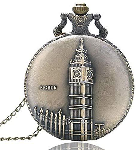 ZHTY Vintage Taschen Kupfer Big Ben Retro London Quarzuhren Stunde Kette Ofthechain für Männer Frauen Fob Care Geschenk S Dekorieren