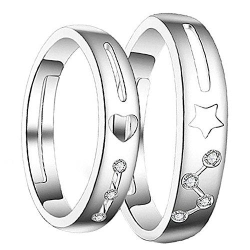 Nikgic - Anillo de Dedo Indice de Moda Pentagram y Forma de Corazón - Adecuado para Hombres y Mujeres Anillo Ajustable
