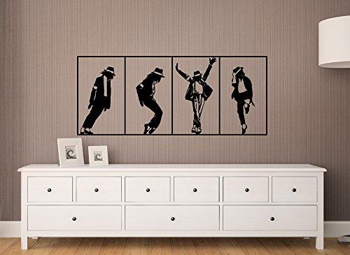 Grandora Wandtattoo Wandbanner Michael Jackson I schwarz (BxH) 140 x 58 cm I Wohnzimmer Schlafzimmer Flur Sticker Aufkleber Wandsticker Wandaufkleber W611