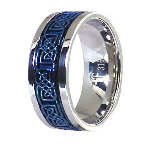 Fantasy Forge Jewelry Electric Blue Celtic Spinner Ring Stainless Steel 8mm Comfort Fit Band Size 8