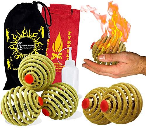 3X Feuer Jonglierbälle FyreFli (68 mm) Pro Feuer Jonglierball Set mit 3 & Brennstoffflasche + Reisetasche.