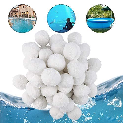 Hospaop Filter Balls 700g, Filterbälle Filtermaterial für Poolpumpe, Kartuschenfilter, Sandfilteranlage Pool ersetzen 25 kg mit Hohe Wasserdurchlässigkeit Filtersand für Pool Sandfilter (Weiß)