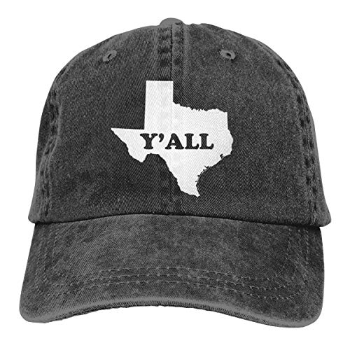 Adjustable Baseball Cap, Texas Y'all Washable Classic Dad Hat, Unisex Perfect for Outdoor Activities Black