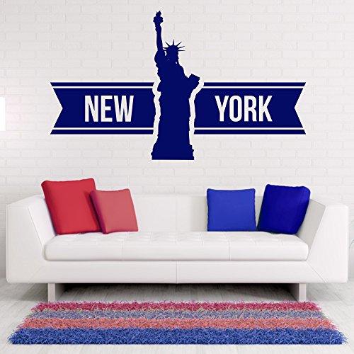 malango® Wandtattoo - New York Schriftzug Wandaufkleber Freiheitsstatue Wahrzeichen Stadt Design Dekoration Aufkleber ca. 180 x 105 cm brilliantblau