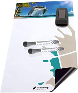 Magnetic Dry Erase Board Kit -Tropical Cruise- with 2 Markers and Eraser. Magnet for Refrigerator, Desk,Cruise Cabin Door Decorations, Accessories or Other Essentials for Organizers