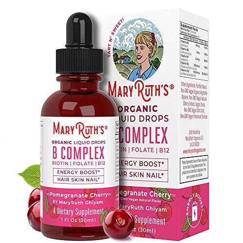 Vegan Vitamin B Complex Sublingual Liquid by MaryRuth's - Hair Skin Nails Energy - Methyl B12 Folate Biotin Niacin Vitamin B3, 6, 7, 9, 12 - Tart Cherry - Glass 1oz