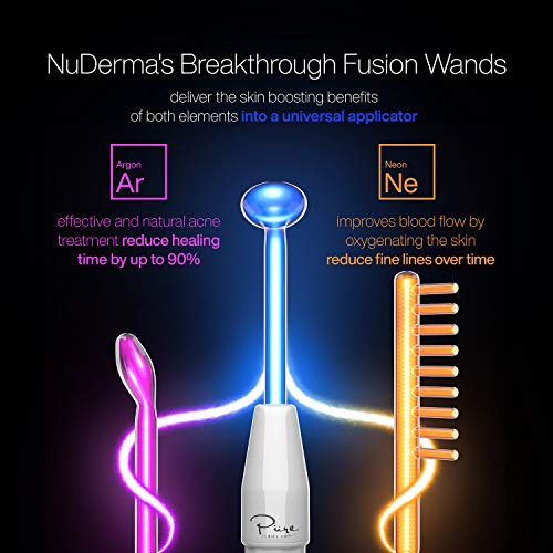 NuDerma Clinical Skin Therapy Wand - Portable High Frequency Skin Therapy Machine w 6 FUSION Neon + Argon Wands – Anti Aging - Blemish & Spot Control - Skin Tightening & Radiance - Wrinkle Reducing