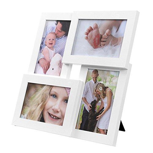 SONGMICS Bilderrahmen Collage für 4 Fotos, 10 x 15 cm, Wandmontage Fotogalerie Display, mit Glasscheibe, Weiß RPF25WT