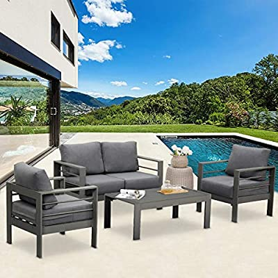 Solaste Outdoor Aluminum Furniture Set - 4 Pieces Patio Sectional Chat Sofa Conversation Set with Table,Grey