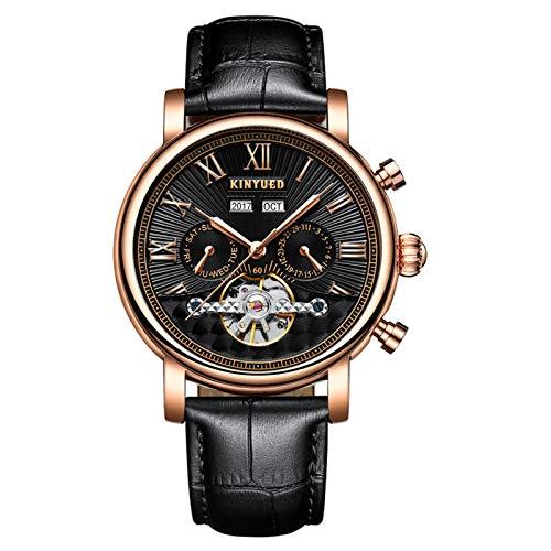 JTTM Hombre Automático De Pulsera Mecánico Relojes Calendario Analogico Multifunción Impermeable Cronógrafo Moda Cuero Reloj De Negocios,Rose Black
