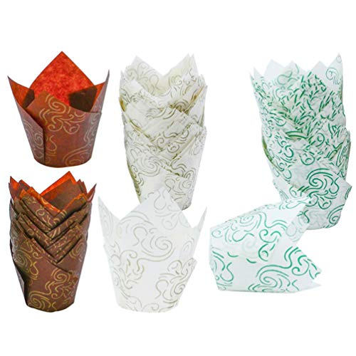 NUOBESTY Cupcake Liner Tulip backförmchen Papier Cupcake Wrapper Muffin Paket behandeln Halter für Geburtstag Hochzeit Weihnachten Kuchen Shop 150 stücke