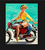 Vintage Pin Up On Motorbike Metal Sign, Pin Up Sign, Vintage Sign Motorcycle SignAluminum Plaques Wa...