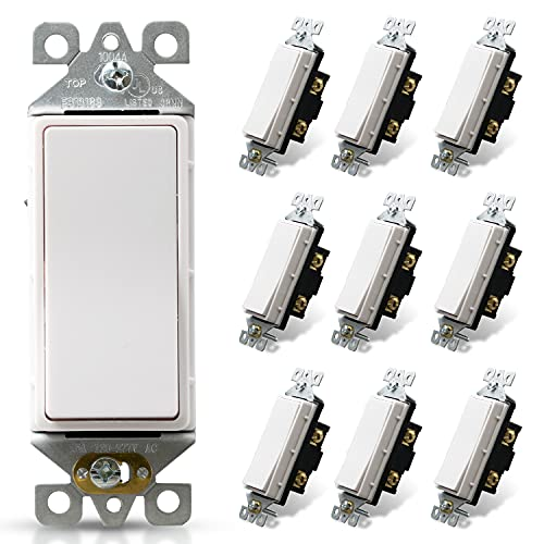 ELEGRP Single Pole Decorative Light Switch, 15Amp, 120/277V, Decorator Paddle Rocker Switch Replacement, On/Off Wall Switch, Self-Grounding, Residential/Commercial Grade, UL/CUL, 10 Pack, Glossy White