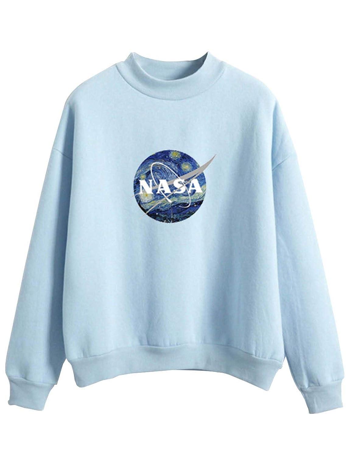 Teen Girl's Cute NASA Sweatshirts Pullover Clearance Solid Color Long Sleeve Jumper Sweater Jacket