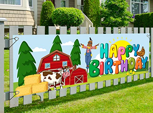 Farm Theme Happy Birthday Banner, 62x21 inch Farm Animal Banner Birthday Party Supplies for Kids Cute Animals Party Decoration Big Yard Sign Photo Background
