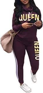 Womens Casual 2 Piece Outfit, Camouflage Letter Print Long Sleeve Pullover Sweatshirt Pants Tracksuits Set