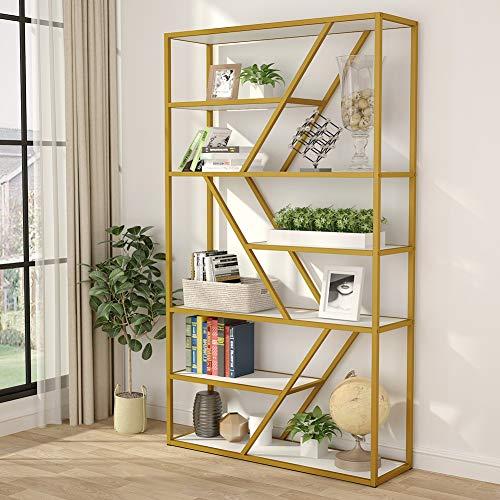 Tribesigns 7 Shelves Gold Bookshelf, 7-Tier Etagere Bookcase Modern Book Shelves Display Shelf...