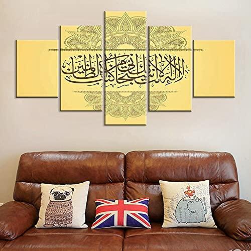 5 piezas Lienzo Arte de la pared Impresiones en HD Póster Buda OM Yoga Pintura Símbolo dorado Imágenes Decoración del hogar para la vida interior Ro-150 * 80cm-Framed