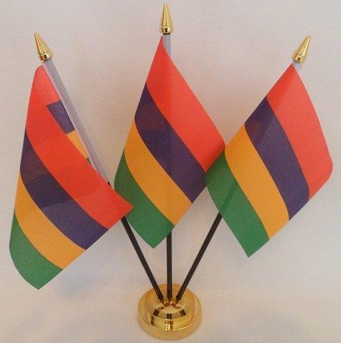 Mauritius 3Mauritius Flagge Desktop Tisch Mittelpunkt Flagge Flaggen mit Gold Boden perfekt für Party Konferenzen Büro Bildschirm