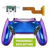 eXtremeRate Dawn Programable Remap Kit Botón de Reasignación para Playstaion 4 con Board de Actuelización&Carcasa Trasera Diseñada&4 Botones Traseros para Mando PS4 JDM 040/050/055(De Azul a Violeta)
