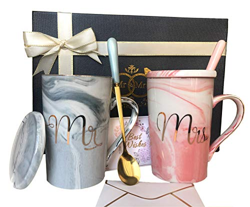 Mr and Mrs Mugs Set - Wedding Gifts for Couple, Engagement Bridal Shower Gift   Unique Anniversary Married Couple Gift - Great Valentine, Christmas Gift - Ceramic Marble Coffee Cups 14oz
