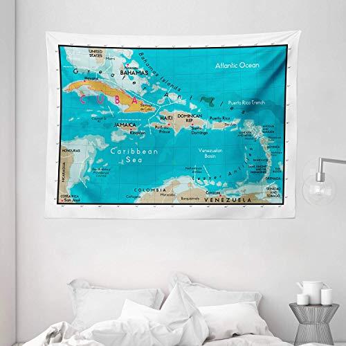 sam-shop Tapiz de Wanderlust, Mapa de Cuba y Geografía del Mar Caribe Marítimo División Política Tierras Fronteras, Tapiz Ancho 80 'X 60', Azul
