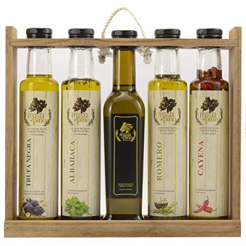 Aceite de Oliva Virgen Extra aromatizado - Estuche 5x250ml - (AOVE de: Albahaca, Romero, Original, esencia de Trufa Negra y Cayena)
