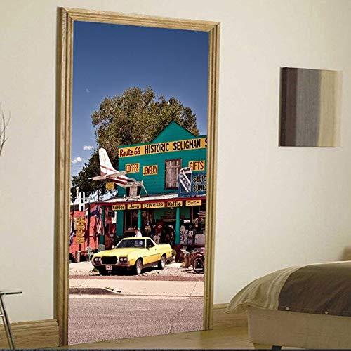 A/X 3D-Türaufkleber erneuern Buddha Tiger Landscape PVC-Wandbild Papierdruckkunst Home Decor Picture Selbstklebende wasserdichte Tapetentür YXCV2772-04