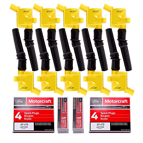 10 MAS Ignition Coil DG508 Yellow & 10 Motorcraft Spark Plug SP479 Compatible with Ford 4.6L 5.4L V8 DG457 DG472 DG491 CROWN VICTORIA EXPEDITION F-150 F-250 MUSTANG LINCOLN MERCURY EXPLORER