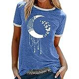 WOBANG T-shirt da donna e ragazza, con motivo a luna, per l'estate, con stampa divertente, scollo rotondo, a maniche corte e casual, per la casa, per la casa, per il tempo libero Blu L