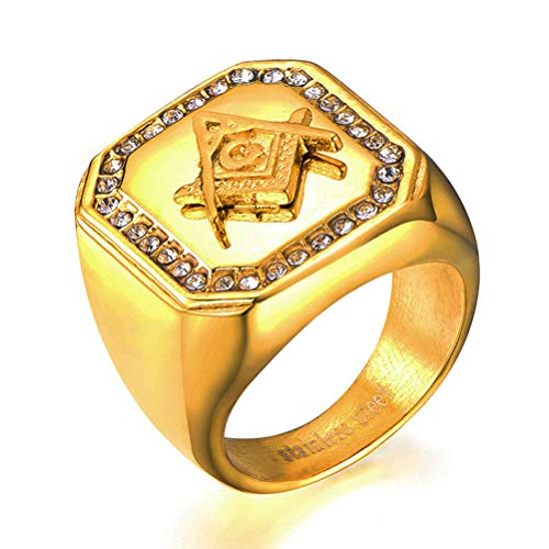 8 To 12 Size Masonic AG Diamond Gold Color Rings, Stainless Steel Freemason Master Mason Signet Hip Hop Rock Band Amulet Jewelry, Party Prom Gift Men Women Personality Religion Ring,10